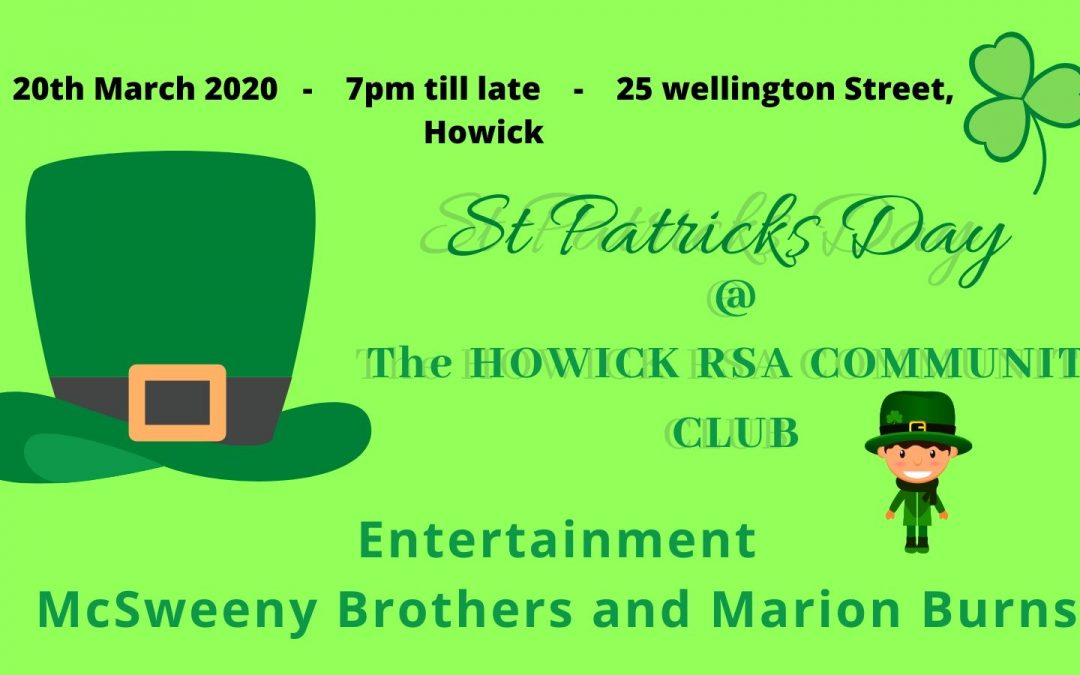 St Patricks Day with McSweeny Bros and Marion Burns – Cancelled