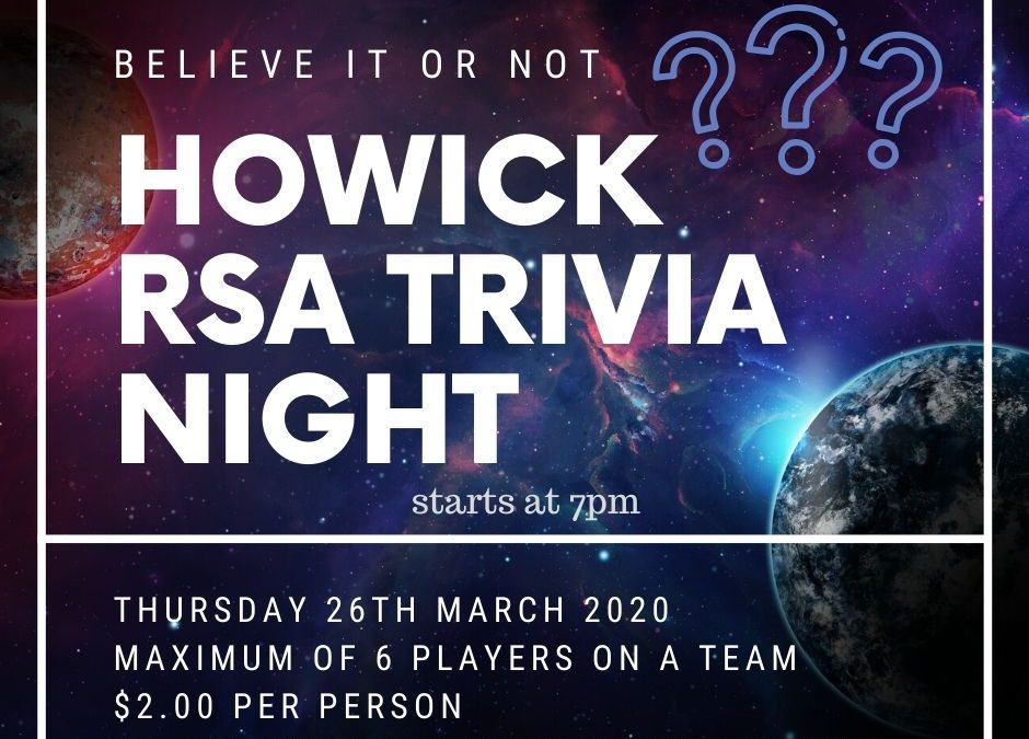 Mthly Trivia Night – CANCELLED